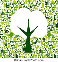 eco, verde, símbolo, árbol, iconos