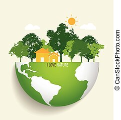 eco, verde, vector, earth., illustration.