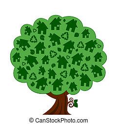 eco, verde, vetorial, árvore, ilustração