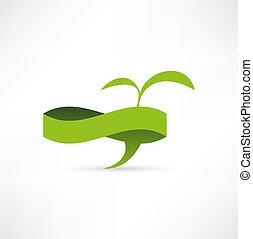 eco, vert, bulle, parole, banner.
