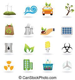 eco, vert, icônes