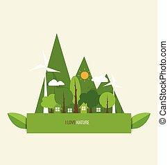 eco, vert, vecteur, earth., illustration.