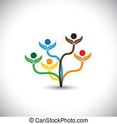 eco, vetorial, ícone, -, árvore familiar, e, trabalho...