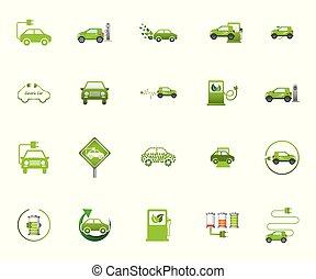 eco, vettore, icona, automobile, disegno, set