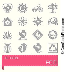 eco, vettore, set, icona