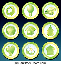 eco, vettore, verde, icone
