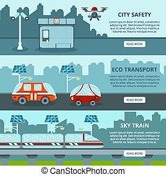eco, ville, bannières, intelligent
