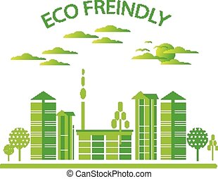 eco, ville, vert, amical, fond