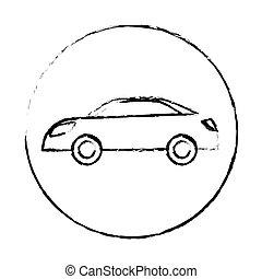 eco, voiture, énergie, silhouette, icône