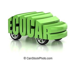 eco, voiture, concept, 3d