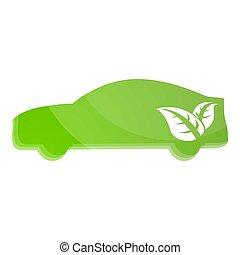 eco, voiture, icône, style, dessin animé