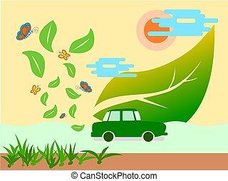 eco, voiture, sauver, illustration, vector., terre verte, propre, concept, énergie, air