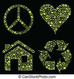 eco, vrede, woning, hart, vector