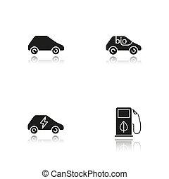 eco, vriendelijk, auto's, black , schaduw, iconen, set, ...