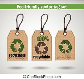 eco, vriendelijk, etiketten