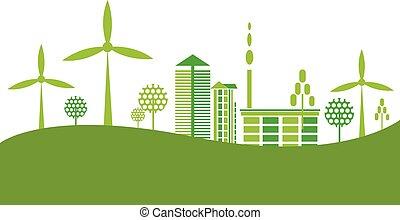eco, vriendelijk, groene, stad, achtergrond
