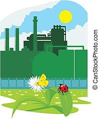 eco, vriendelijk, industrie