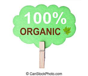 eco, vriendelijk, label., 100%, organisch