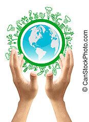 eco, vrijstaand, groene achtergrond, witte , aarde