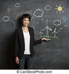 eco, vrouw, chalkboard., schets, aziaat, voorkant