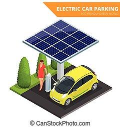 eco, wóz, przyjacielski, parking, isometric, concept., ...