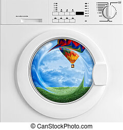 fine 3d image of classic washing machine and scenic view, metaphoric concept
