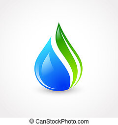 Eco Water Drop - Illustration of Eco Water Drop With Green...