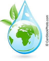 eco, water, duidelijk, concept
