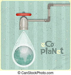 eco water planet - ecology concept Water planet, planet in...