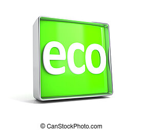 Eco - web button isolated on white background