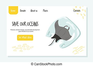 Eco website template with ray fish. Stop plastic