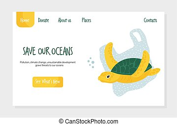 Eco website template with turtle. Stop plastic