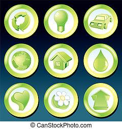 eco, wektor, zielony, ikony