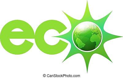 eco, wereld, energie, symbool, pictogram