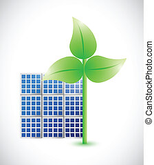 eco windmill and solar panel illustration