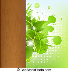 Eco Wood Background With Leafs