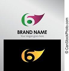 eco, zählen zeichen, vektor, 6, logo