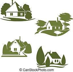 eco, zöld épület, ikon, közül, ökológia, ingatlan tulajdon, tervezés
