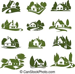 eco, zöld épület, noha, fa, és, pázsit, elszigetelt, ikon