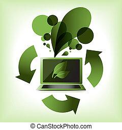 eco, zielony, komputer, strzały
