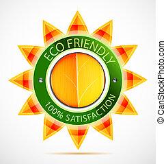 eco, zon, vriendelijk, etiket
