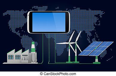 Ecofriendly concept. Green factory, wind turbine and solar panel connected to smartphone iin front of world map background.