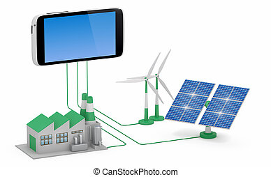 Ecofriendly concept. Green factory, wind turbine and solar panel connected to smartphone isolated on white background.