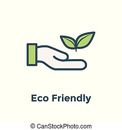 Ecofriendly hand holding plant to illustrate environmental conservation - icon