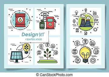 ecofriendly, iconos, diseños, seis