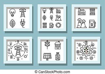 ecofriendly, lío, iconos, diseños
