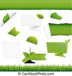 Ecogy Green Set, With Gradient Mesh, Vector Illustration