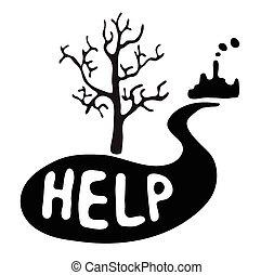 ecológico, árbol, desastre, muerto