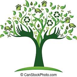 ecológico, árvore verde, mãos, logotipo