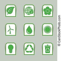 ecológico, ícone, varas